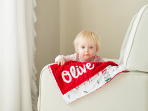 Red Christmas Deer Personalized Lovey Blanket