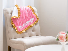 Load image into Gallery viewer, Rainbow Baby Personalized Lovey Blanket with Gold Satin Ruffle