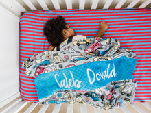 Load image into Gallery viewer, Rescue Vehicles Personalized Baby Boy Blanket