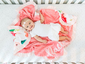 Coral Floral Personalized Baby Girl Blanket with Satin Ruffle
