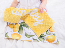 Load image into Gallery viewer, Yellow Lemons Personalized Lovey Blanket