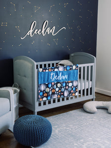 Blue Space Themed Personalized Baby Boy Blanket