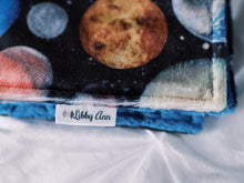 Load image into Gallery viewer, Blue Space Planets Personalized Lovey Blanket