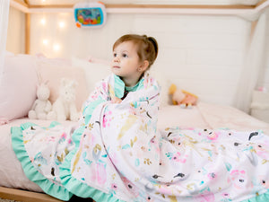 Pink Unicorn Personalized Minky Blanket with Satin Ruffle