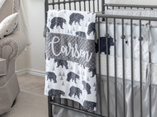 Load image into Gallery viewer, Gray Woodland Bear Personalized Baby Boy Blanket