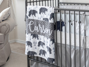 Gray Woodland Bear Personalized Baby Boy Blanket