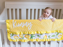 Load image into Gallery viewer, Yellow Lemons Baby Girl Blanket with Satin Ruffle