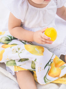 Yellow Lemons Personalized Lovey Blanket