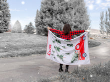 Load image into Gallery viewer, Personalized Christmas Blanket with Vintage Red Truck and Tree