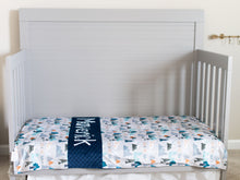 Load image into Gallery viewer, Adventure Awaits Navy Blue Personalized Baby Boy Blanket