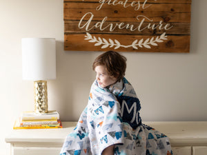 Adventure Awaits Navy Blue Personalized Baby Boy Blanket