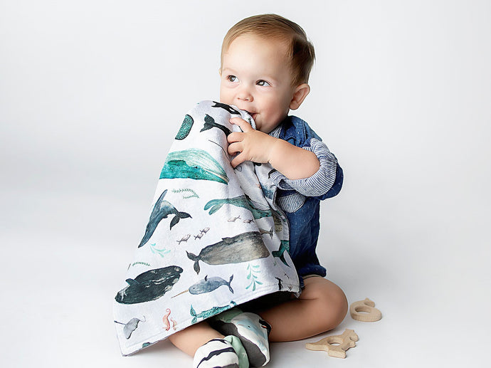 Whale Song Personalized Lovey Blanket