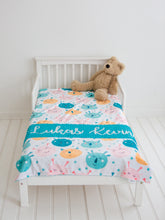 Load image into Gallery viewer, Teal Monsters Personalized Baby Boy Blanket