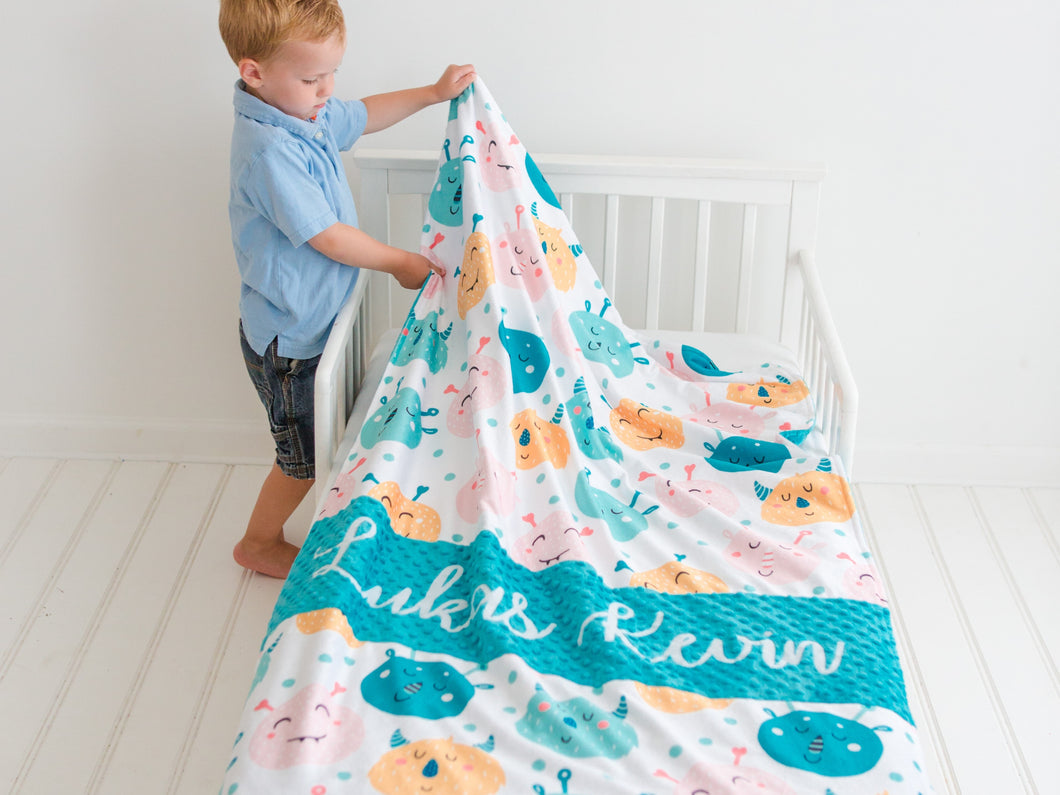 Teal Monsters Personalized Baby Boy Blanket