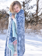 Load image into Gallery viewer, Gray Snowflakes Minky Blanket with Personalized Name