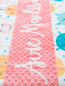 Coral Monsters Personalized Baby Girl Blanket
