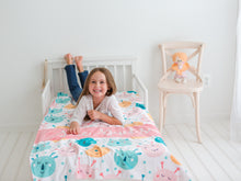 Load image into Gallery viewer, Coral Monsters Personalized Baby Girl Blanket