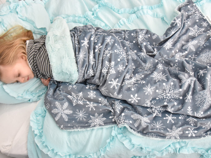 Gray Snowflakes Minky Blanket with Personalized Name