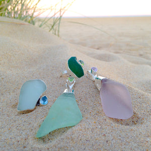 Sea glass washes up on the beach after  being naturally polished by the Ocean.