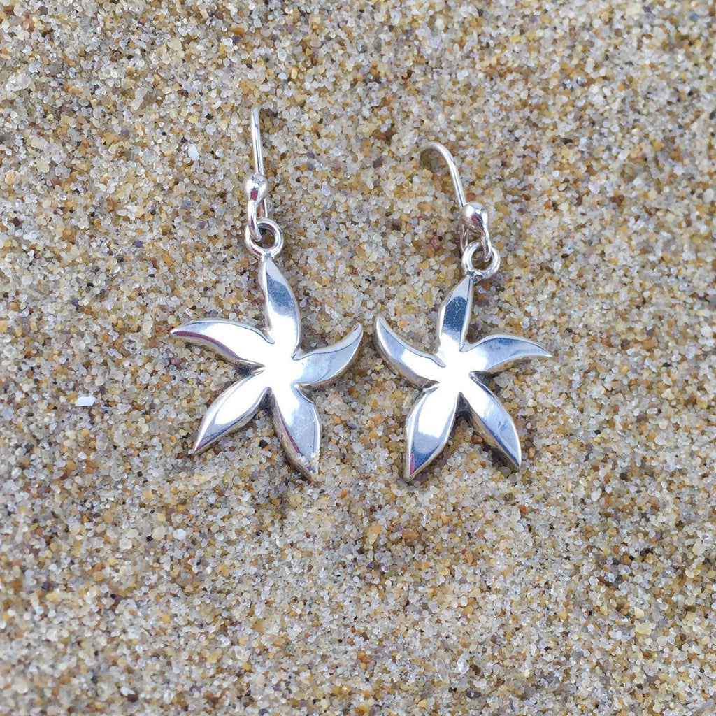Drop Earrings Silver Starfish