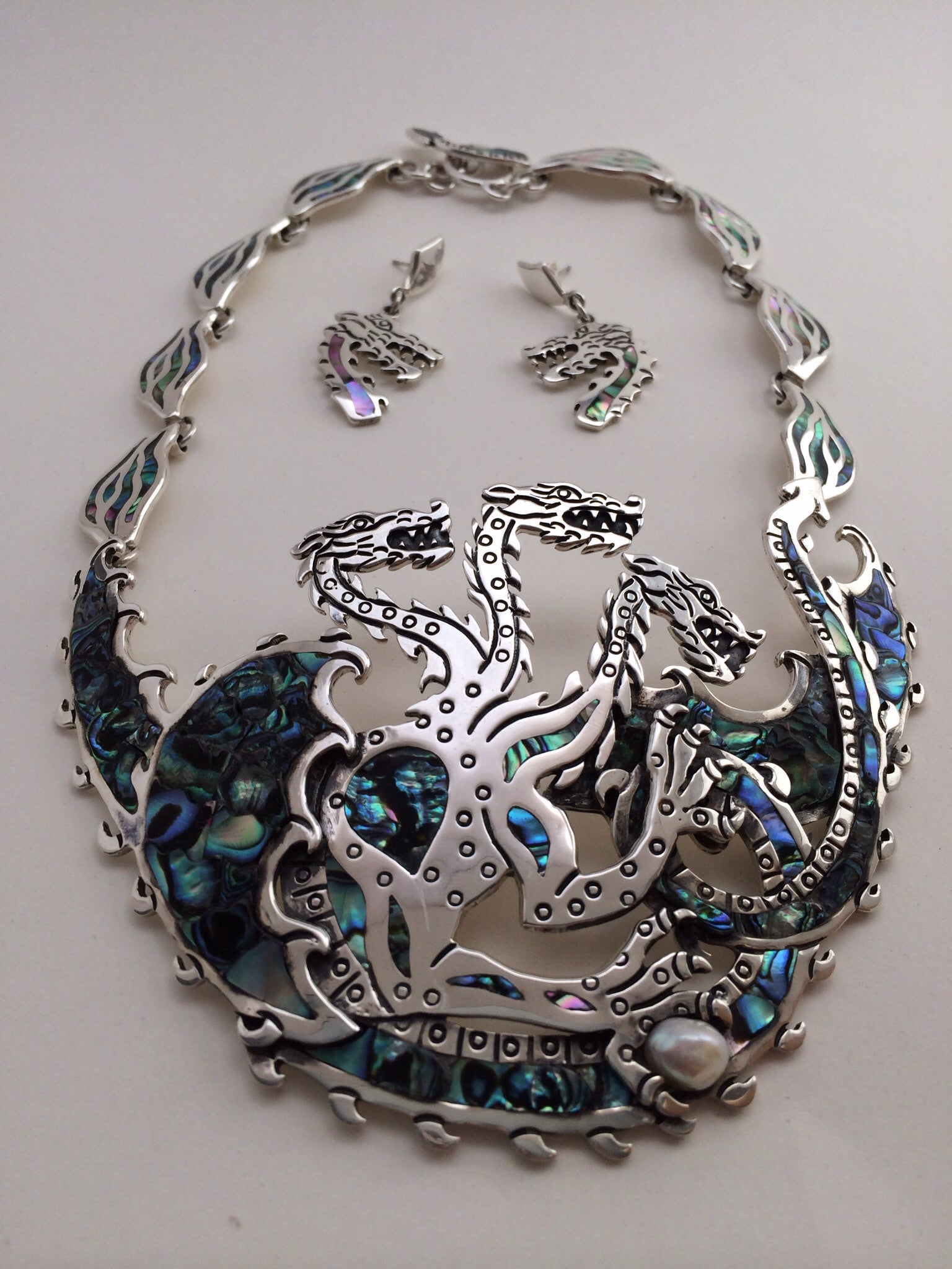 Dragon Necklace and Earring Set with Abalone Inlay-Jenstones Jewelry