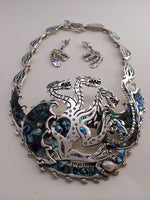 Load image into Gallery viewer, Dragon Necklace and Earring Set with Abalone Inlay-Jenstones Jewelry