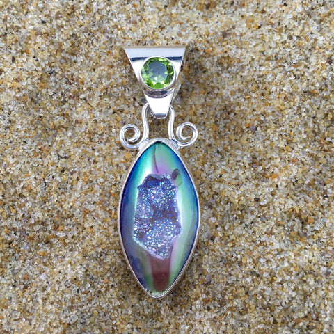 Marquise Druzy Pendant With Peridot