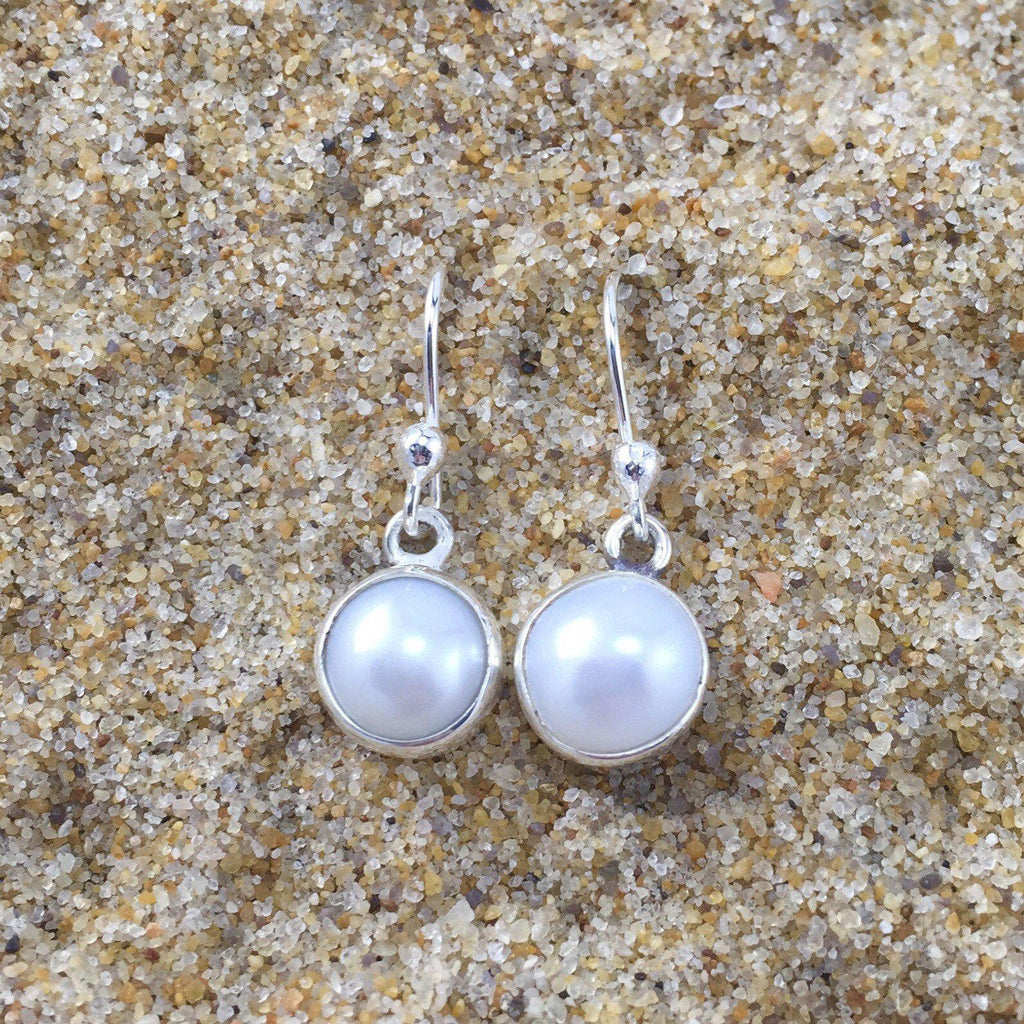 Dangle Earrings White Fresh Water Pearl