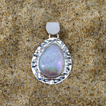 Load image into Gallery viewer, Hammered Tear Druze Pendant White-Jenstones Jewelry