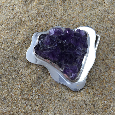Belt Buckle Amethyst Druzy