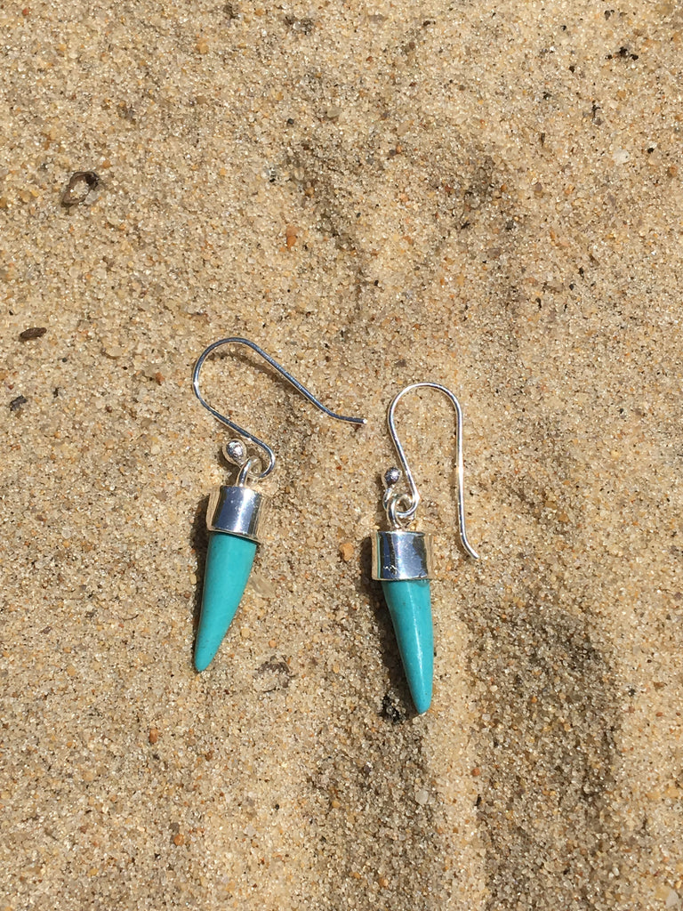 Tusk Earrings, Sterling with Turquoise Small