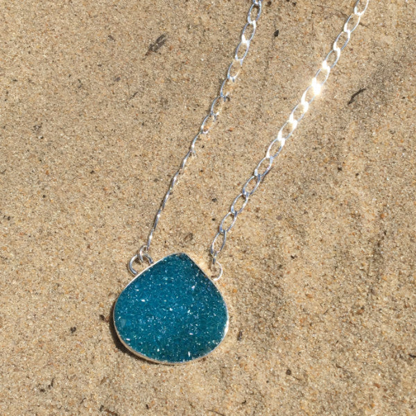 Chain Link Necklace with Azure Druzy Teardrop Pendant