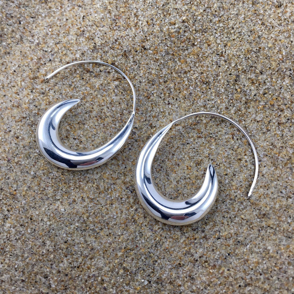 Hoop Earrings Sterling Wave Large-Jenstones Jewelry