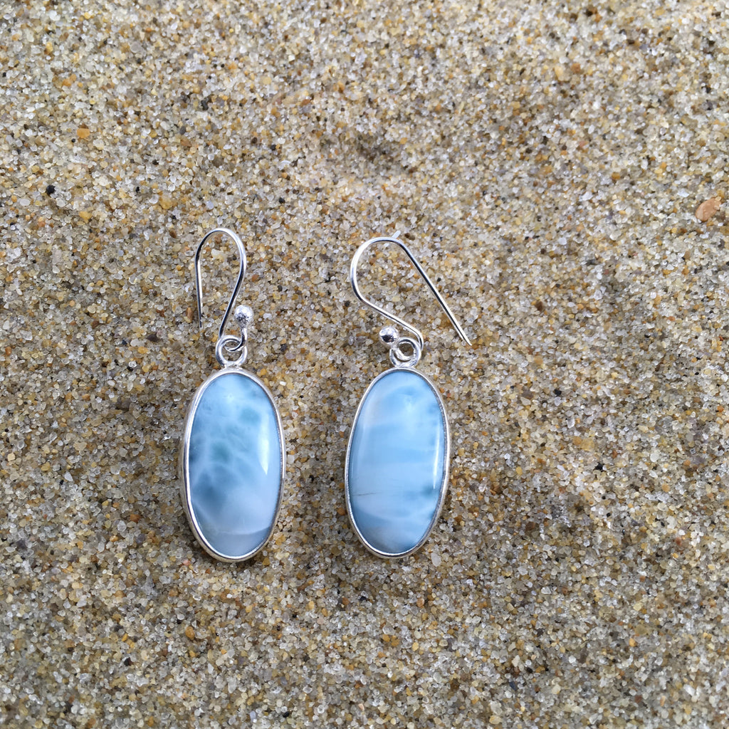 Oval Larimar Earrings-Jenstones Jewelry