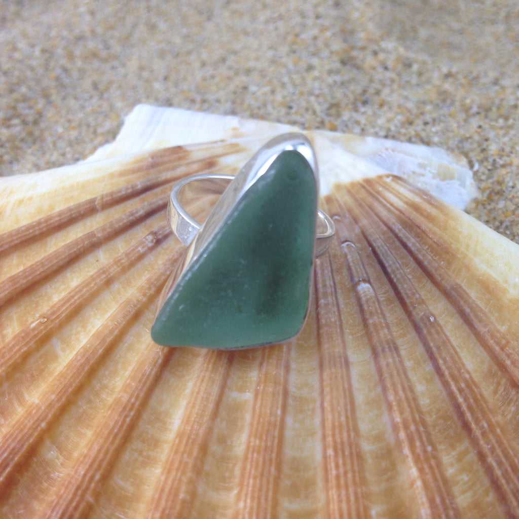 Sea Glass Ring Foam Green Isosceles-Jenstones Jewelry