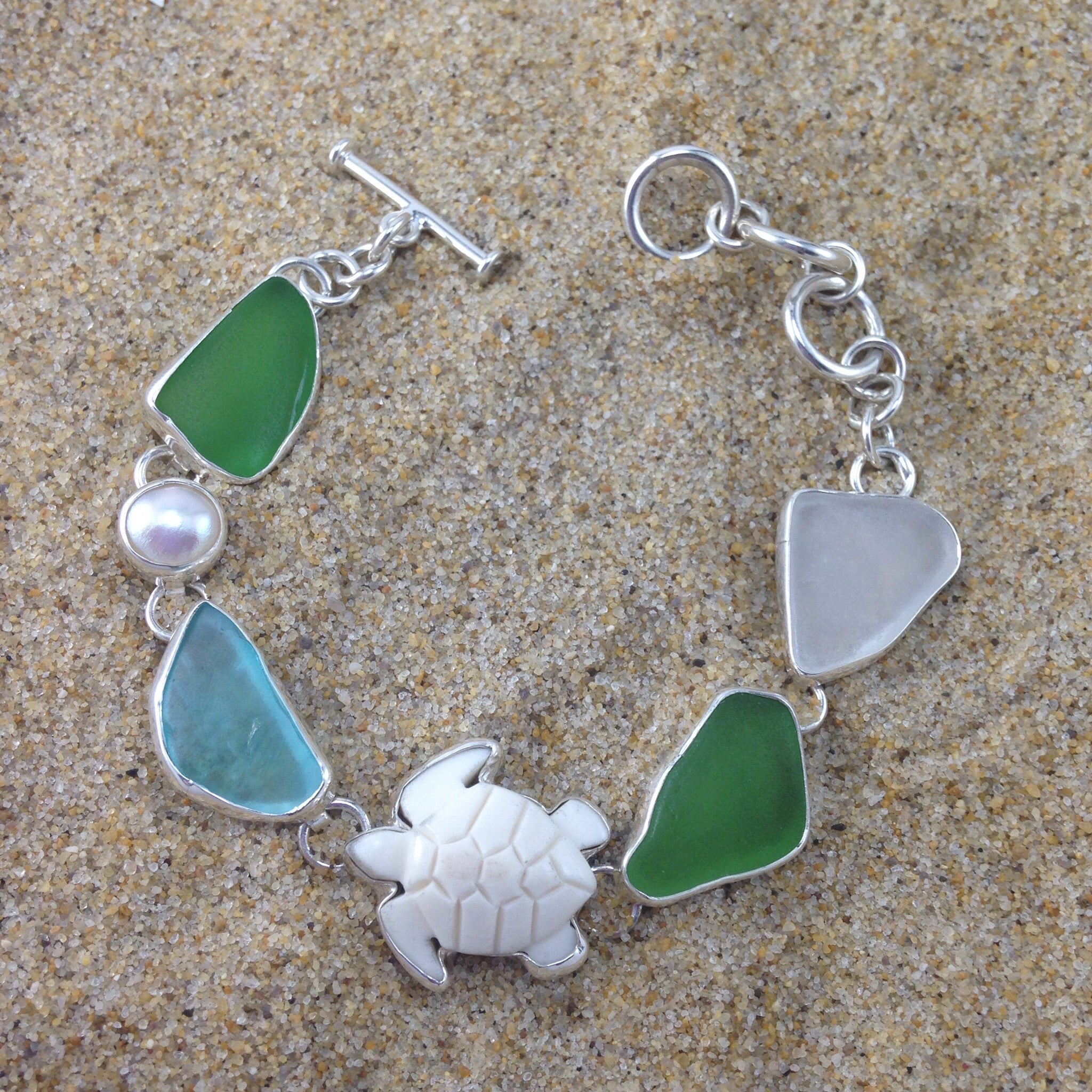 Link Bracelet Carved Turtle, Sea Glass and Pearl-Jenstones Jewelry