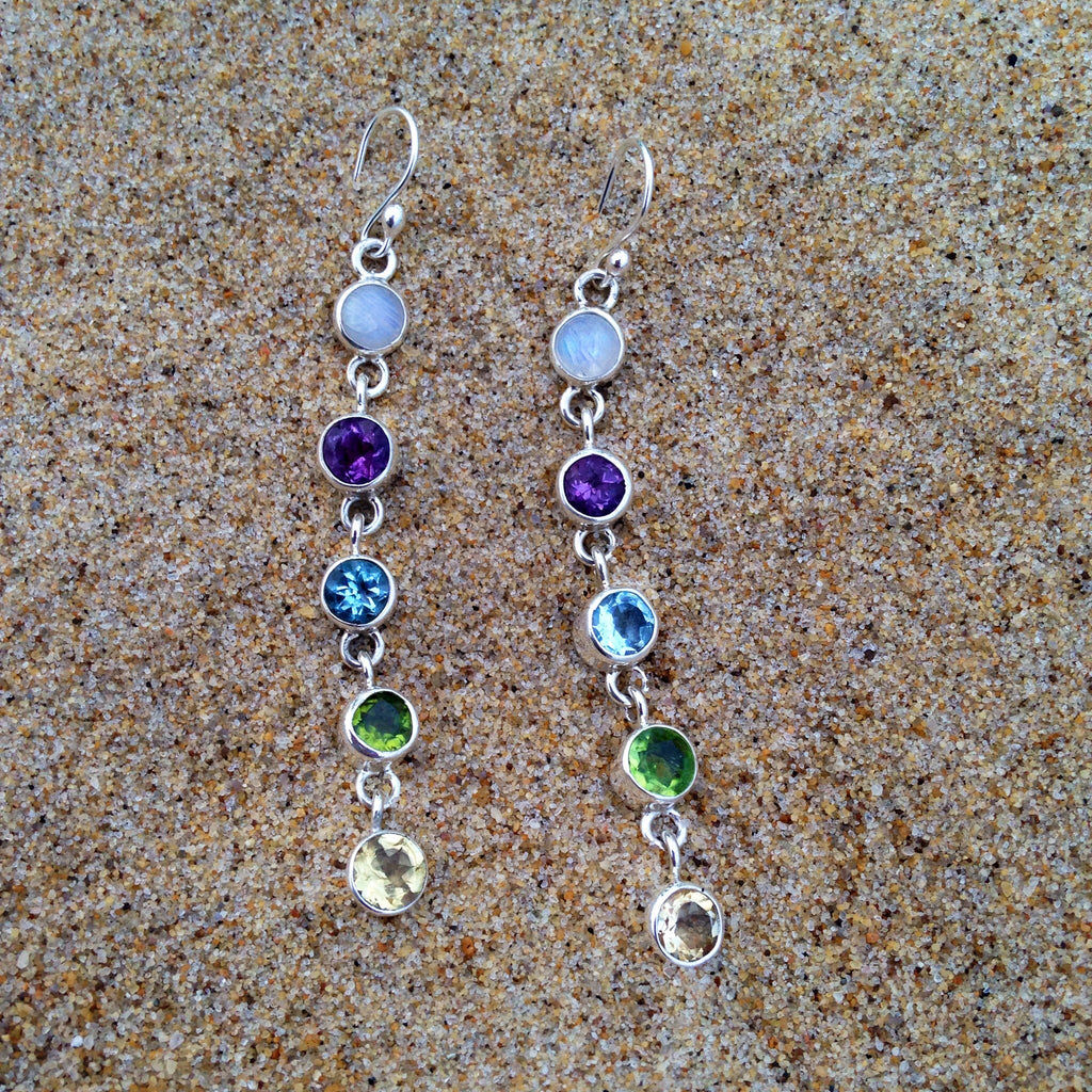 Chakra Five Stone Drop Earrings-Jenstones Jewelry