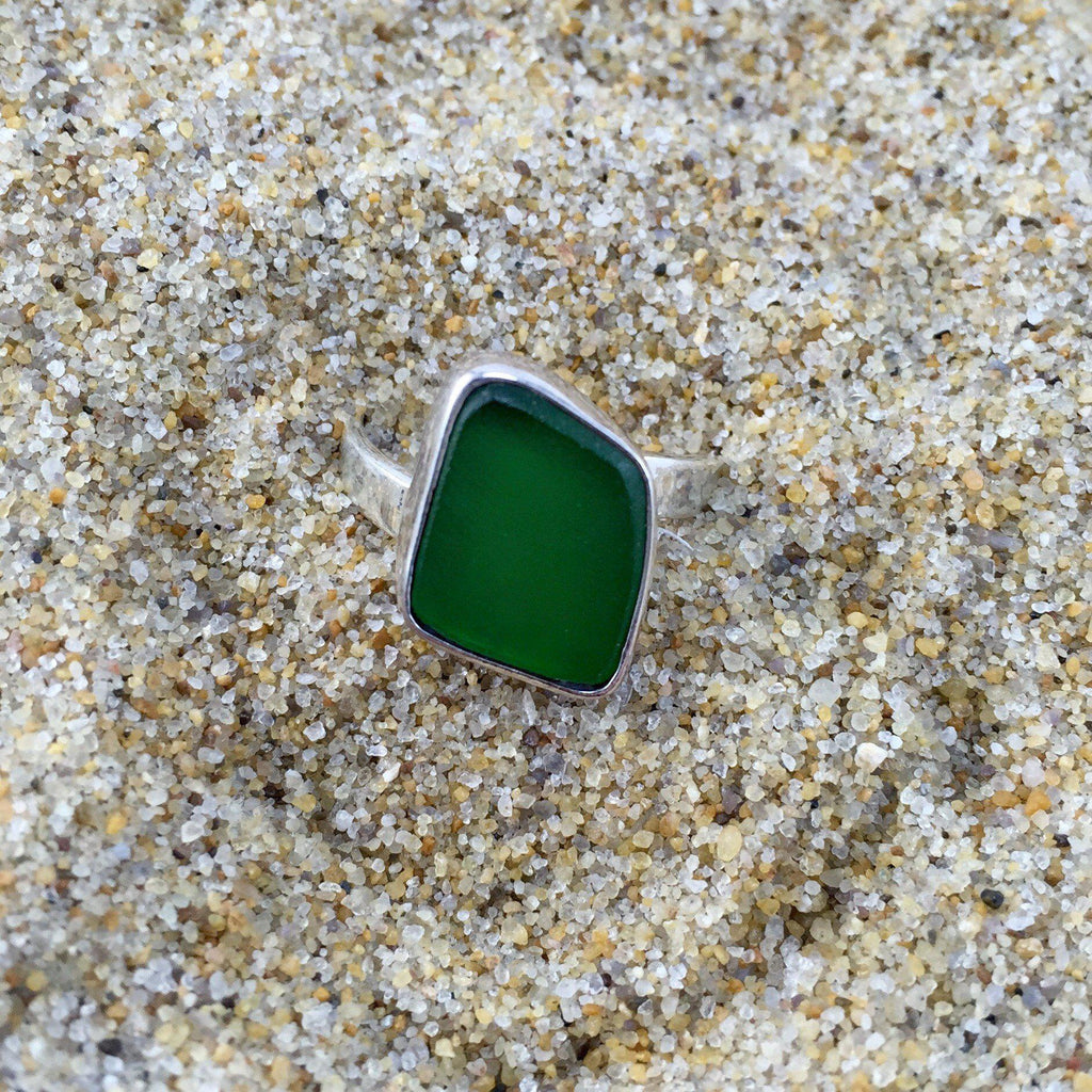 Sea Glass Ring Deep Green-Jenstones Jewelry