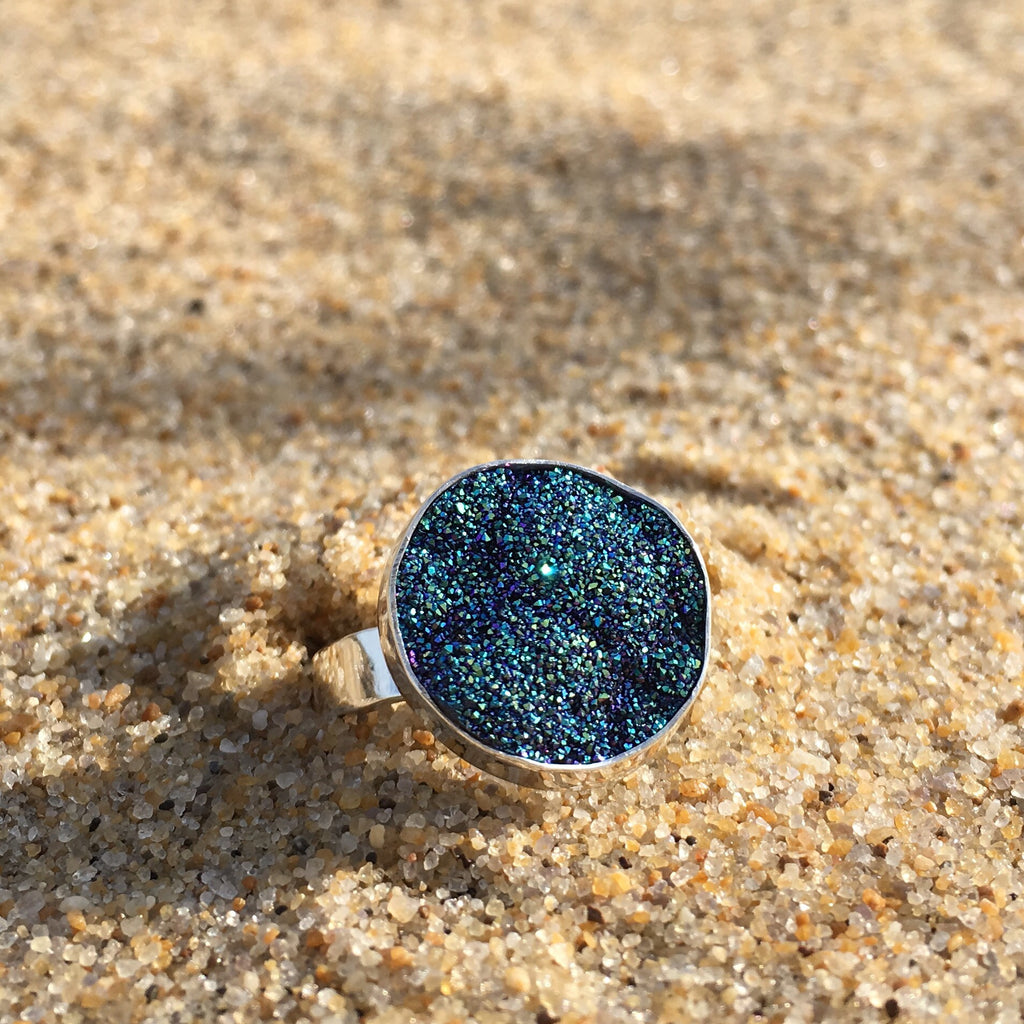 Ring Sterling with Azure Druze Petite