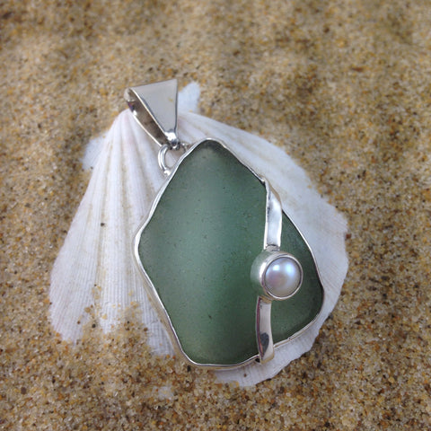 Window Pendant Foam Green Sea Glass and Pearl