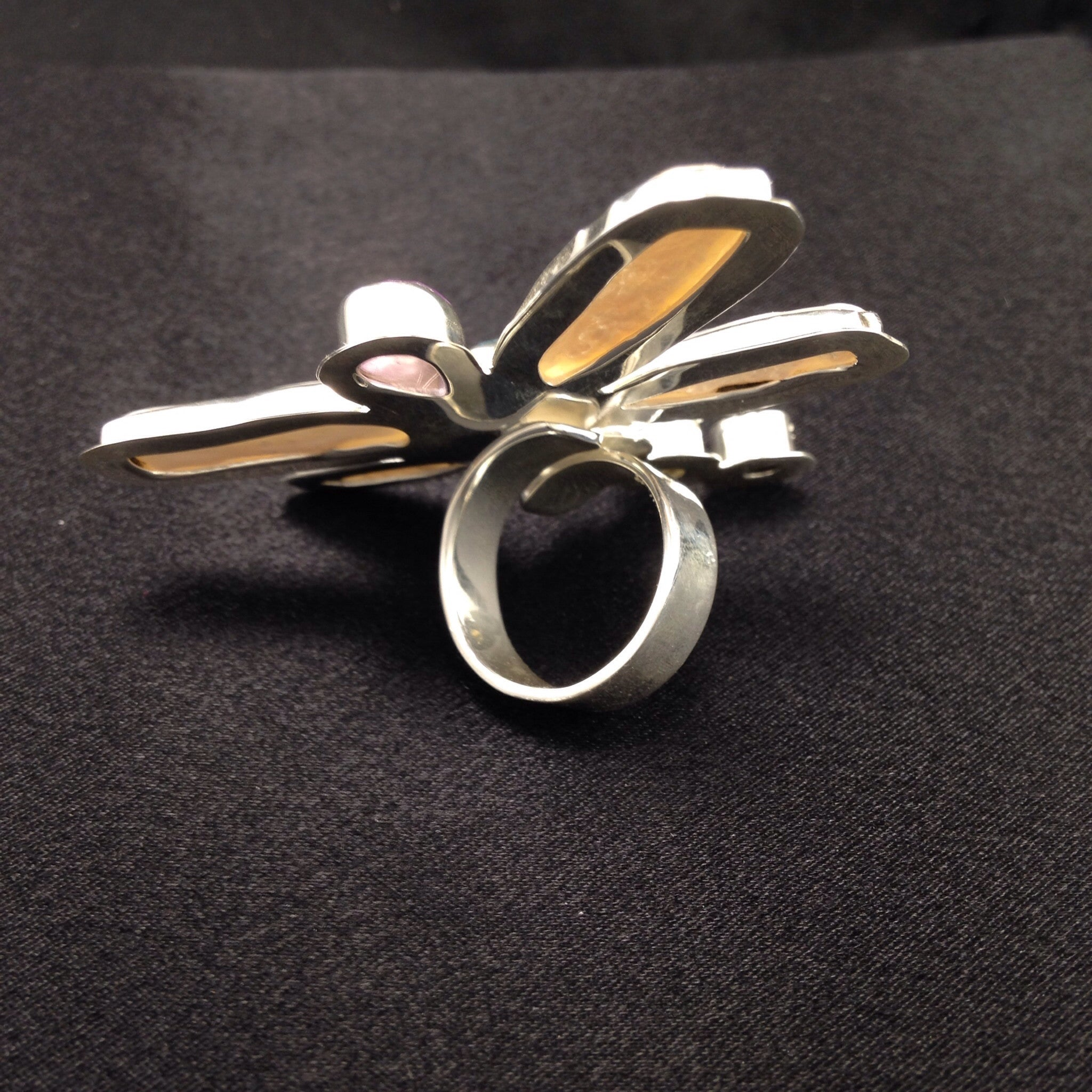 Dragonfly Chakra Gemstone White Pearl Ring-Jenstones Jewelry