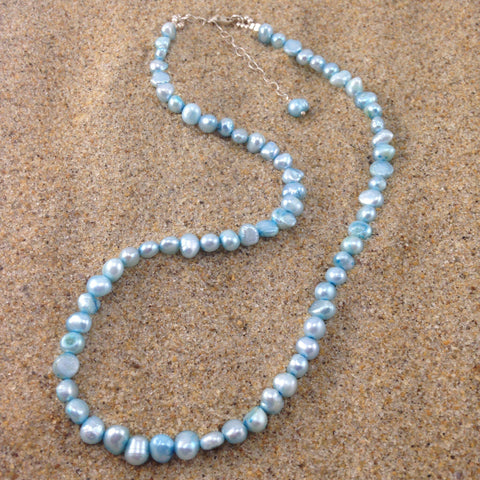 Pearl Necklace Sky Blue Fresh Water