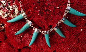 Tusk Necklace, Sterling with Turquoise-Jenstones Jewelry