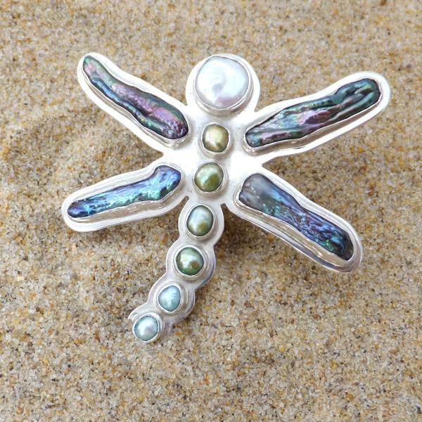 Dragonfly Ring Abalone and Pearl