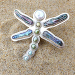 Load image into Gallery viewer, Dragonfly Ring Abalone and Pearl-Jenstones Jewelry