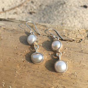 Double Pearl Earrings-Jenstones Jewelry