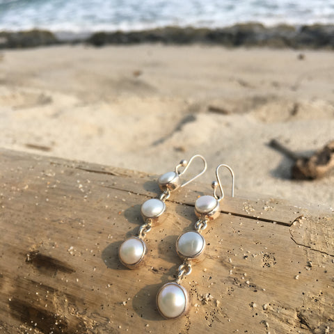 Triple Dangle Earrings White Fresh Water Pearl