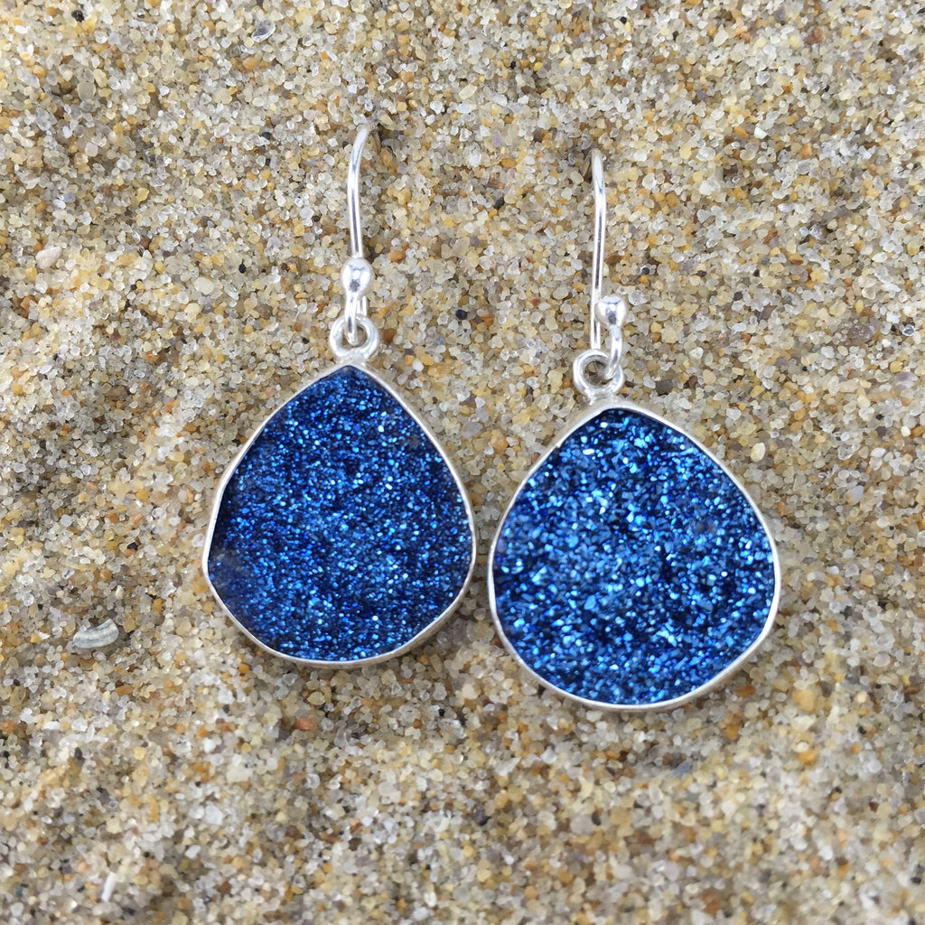 Drop Earrings Blue Druze Teardrop
