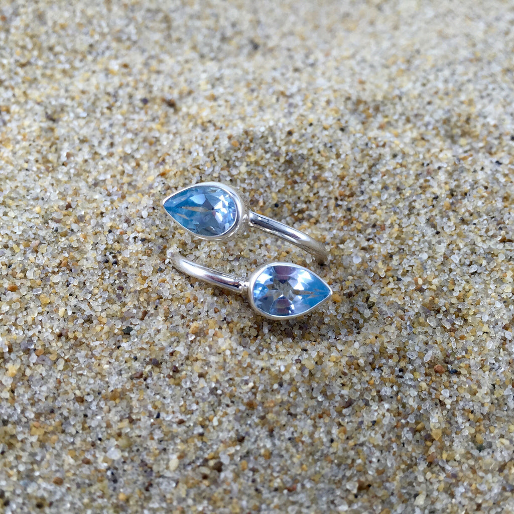 Wrap Around Ring Blue Topaz Tear Drop