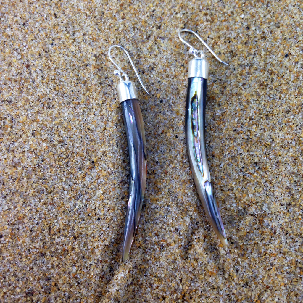 Tusk Earrings, Sterling with Abalone